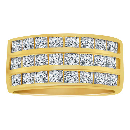 14k Yellow Gold, Three Row Modern Design Band Ring Princess Cut Lab Created Gems (R113-027)