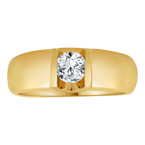 14k Yellow Gold, Tension Set Solitaire Modern Band Ring Round Created Gem 0.35ct (R113-035)