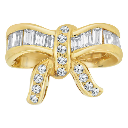 14k Yellow Gold, Fancy Bow Ribbon Design Ring with Brilliant Lab Created Gems (R113-036)