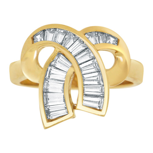 14k Yellow Gold, Fancy Abstract Bow Ribbon Design Ring Baguette Shape Lab Created Gems (R113-041)