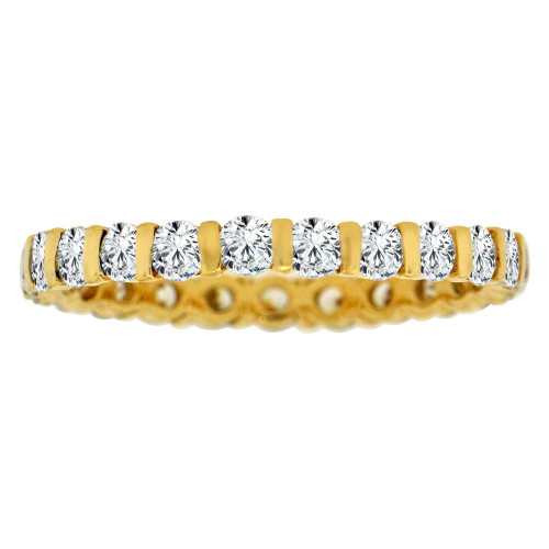 14k Yellow Gold, Eternity Set Band Ring Lab Created Gems Size 9.5 (R113-042)