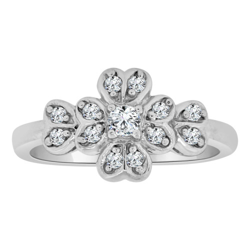 14k White Gold, Dainty Classic Flower Pedals Design Ring Lab Created Gems (R113-055)