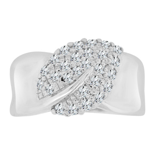 14k White Gold, Fancy Cluster Leaf Design Ring with Brilliant Lab Created Gems (R113-072)