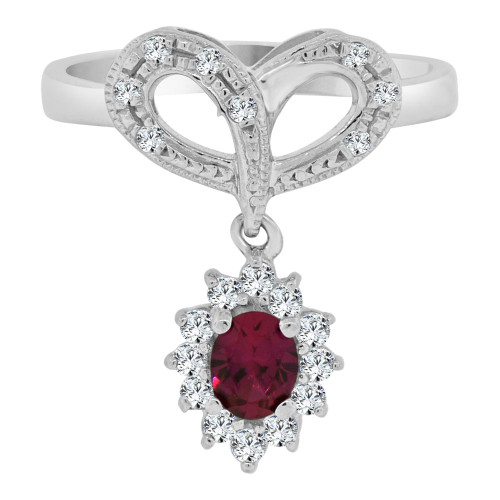 14k White Gold, Heart & Hanging Cluster Design Ring Brilliant Lab Created Gems (R113-075)