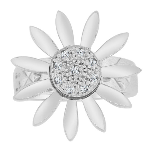 14k White Gold, Fancy Motion Sunflower Ring Brilliant Lab Created Gems (R113-077)
