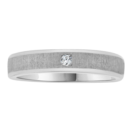14k White Gold, Simple Solitaire Modern Band Ring with Brilliant Created Gem (R113-079)