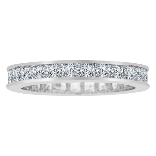 14k White Gold, Eternity Design Band Ring Princess Cut Lab Created Gems Size 9 (R113-089)