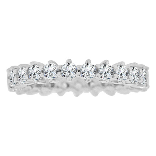 14k White Gold, Eternity Design Band Ring Round Brilliant Lab Created Gems Size 7.5 (R113-090)