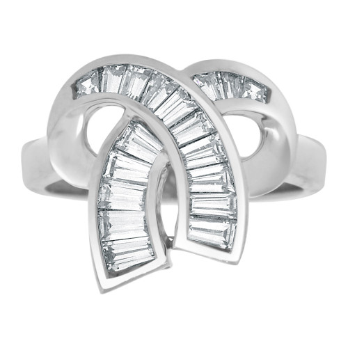14k White Gold, Fancy Bow Ribbon Design Ring Baguette Shape Lab Created Gems (R113-091)