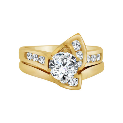 14k Yellow Gold, 2 Piece Engagement Ring Set Round Center Cubic Zirconia 1.25ct (R115-001)