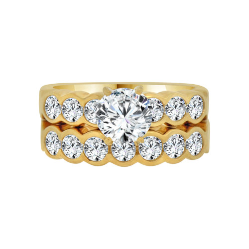 14k Yellow Gold, 2 Piece Engagement Ring Set Round Center Cubic Zirconia 1.25ct (R115-002)