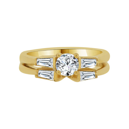 14k Yellow Gold, 2 Piece Engagement Ring Set Round Center Cubic Zirconia 0.50ct (R115-003)