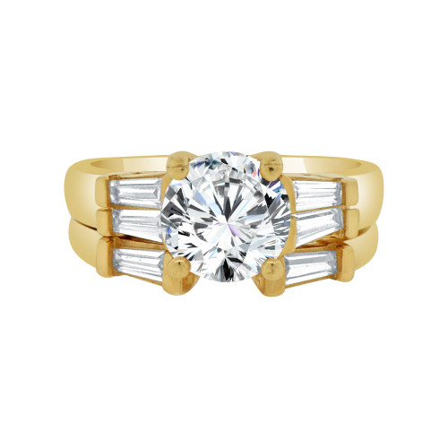 14k Yellow Gold, Fancy 2 Piece Engagement Set Ring Round Center Cubic Zirconia 1.75ct (R115-005)