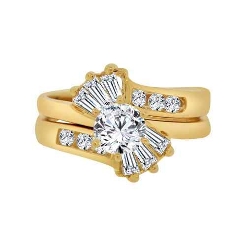 14k Yellow Gold, 2 Piece Engagement Set Ring Round Center Cubic Zirconia 0.75ct (R115-006)