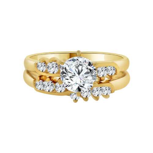 14k Yellow Gold, 2 Piece Engagement Set Ring Round Center Cubic Zirconia 1.0ct (R115-007)
