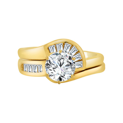 14k Yellow Gold, 2 Piece Engagement Set Ring Round Center Cubic Zirconia 1.25ct (R115-008)