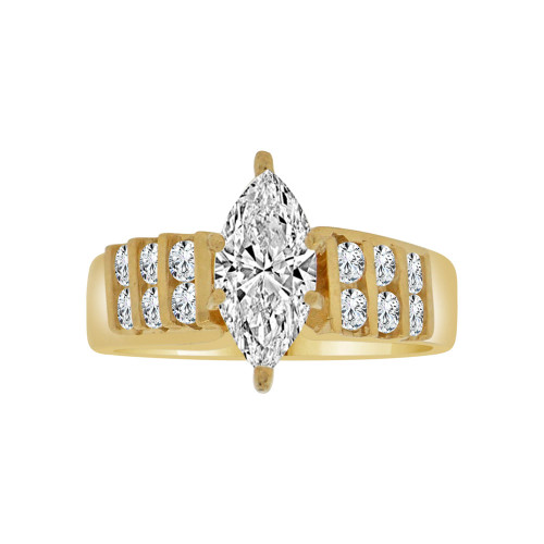 14k Yellow Gold, Elegant Lady's Wedding Ring Marquise Center Cubic Zirconia 1.5ct (R115-011)