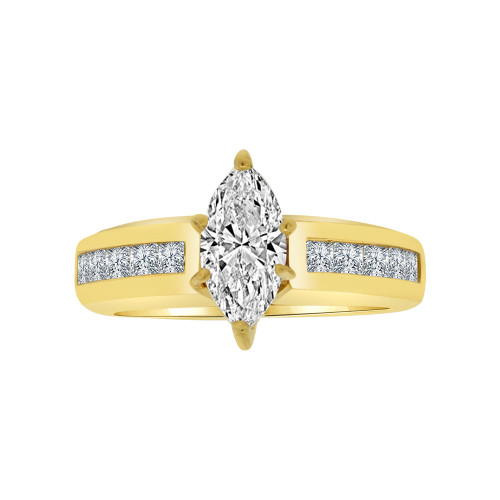 14k Yellow Gold, Lady Wedding Ring Marquise Center Brilliant Cubic Zirconia 1.5ct (R115-012)