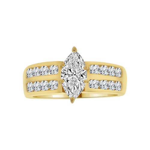 14k Yellow Gold, Lady Wedding Ring Marquise Center Brilliant Cubic Zirconia 1.0ct (R115-013)