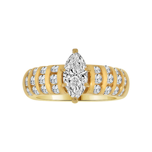 14k Yellow Gold, Lady Wedding Ring Marquise Center Brilliant Cubic Zirconia 1.0ct (R115-014)