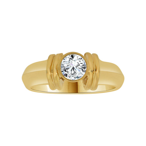 14k Yellow Gold, Solitaire Lady's Wedding Ring Round Cubic Zirconia 0.75ct (R116-003)