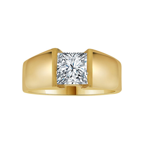 14k Yellow Gold, Solitaire Lady's Wedding Ring Princess Cut Cubic Zirconia 1.25ct (R116-004)