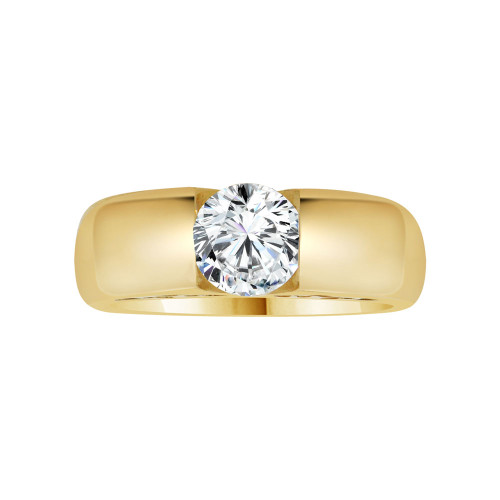 14k Yellow Gold, Solitaire Lady's Wedding Ring Round Cubic Zirconia 1.25ct (R116-005)
