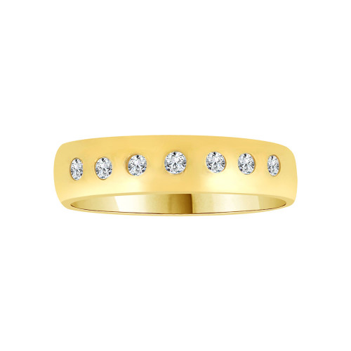14k Yellow Gold, Elegant and Classic Lady's Band Ring Round Cubic Zirconia (R116-006)