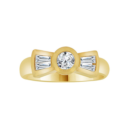 14k Yellow Gold, Dainty Lady's Promise Ring Cubic Zirconia 0.25ct (R116-007)
