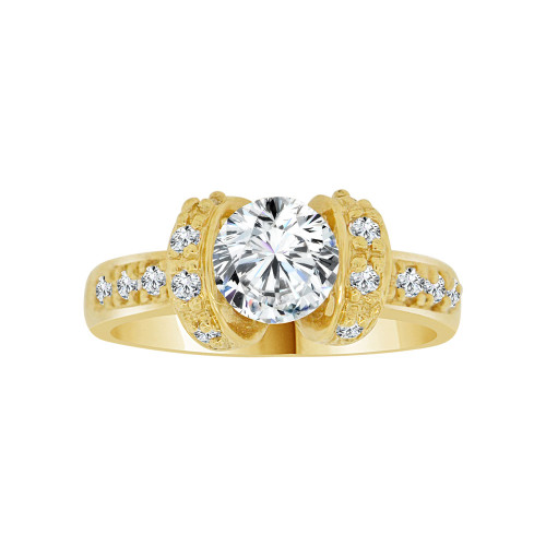 14k Yellow Gold, Elegant Lady's Wedding Ring Round Cubic Zirconia 1.0ct (R116-009)