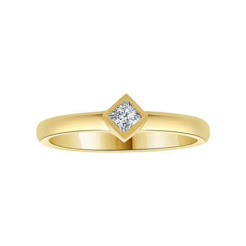 14k Yellow Gold, Dainty Small Solitaire Lady's Promise Ring Princess Cut Cubic Zirconia 0.25ct (R116-012)