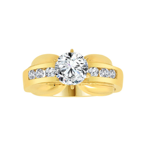 14k Yellow Gold, Elegant Lady's Wedding Ring Round Cubic Zirconia 1.25ct (R116-013)