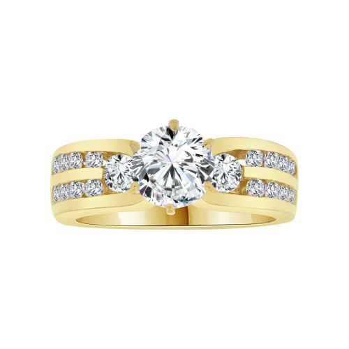 14k Yellow Gold, Elegant Lady's Wedding Ring Round Cubic Zirconia 1.25ct (R116-014)