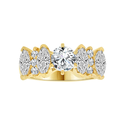 14k Yellow Gold, Elegant Lady's Wedding Ring Round Center Marquise Sides Cubic Zirconia 0.7ct (R116-015)