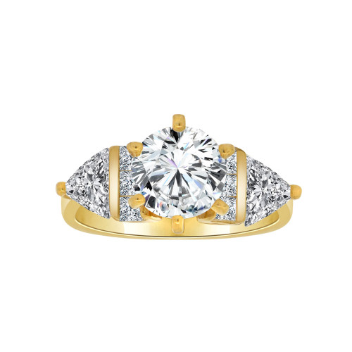14k Yellow Gold, Elegant Lady's Wedding Ring Round Center Cubic Zirconia 1.25ct (R116-016)