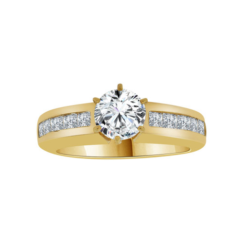 14k Yellow Gold, Elegant Lady's Wedding Ring Round Cubic Zirconia 1.0ct (R116-018)