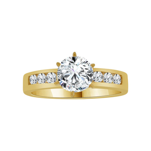 14k Yellow Gold, Classic Lady's Wedding Ring Round Cubic Zirconia 1.0ct (R116-019)