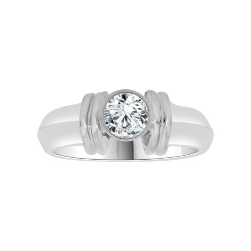 14k White Gold, Solitaire Lady's Wedding Ring Round Cubic Zirconia 0.75ct (R116-053)