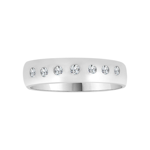 14k White Gold, Elegant and Classic Lady's Band Ring with Round Cubic Zirconia (R116-056)