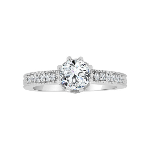 14k White Gold, Elegant Lady's Wedding Ring Round Micro Set Cubic Zirconia 1.0ct (R116-071)