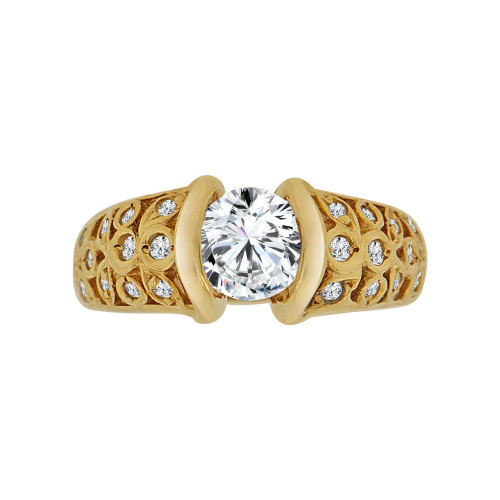 14k Yellow Gold, Fancy & Elegant Lady's Wedding Ring Round Cubic Zirconia 1.0ct (R117-001)