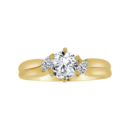 14k Yellow Gold, Classic Lady's Bridal Wedding Ring Round Cubic Zirconia 1.0ct (R117-002)