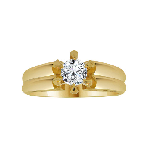 14k Yellow Gold, Solitaire Lady's Bridal Wedding Ring Round Cubic Zirconia 0.75ct (R117-005)