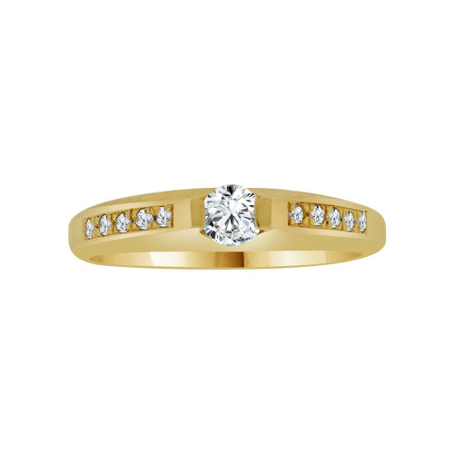 14k Yellow Gold, Simple Classic Design Promise Ring with Cubic Zirconia 0.25ct (R117-006)