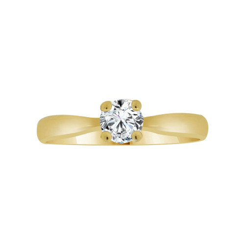 14k Yellow Gold, Dainty Solitaire Lady's Bridal Wedding Ring Round Cubic Zirconia 0.50ct (R117-007)