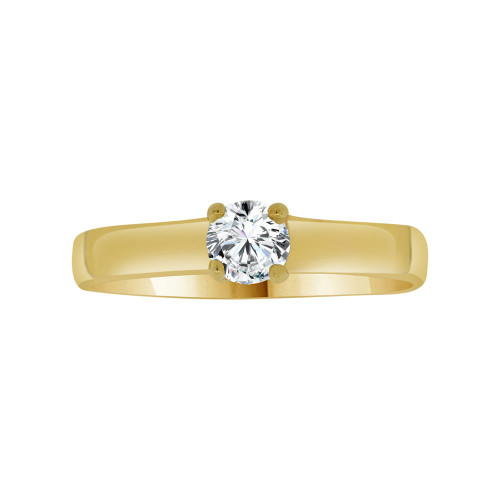 14k Yellow Gold, Dainty Solitaire Lady's Promise Ring Round Cubic Zirconia 0.25ct (R117-008)