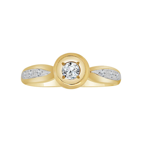 14k Yellow Gold White Rhodium, Promise Ring Round Cubic Zirconia 0.10ct (R117-009)