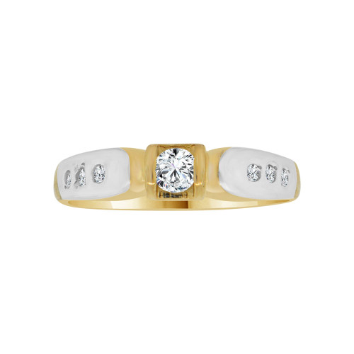 14k Yellow Gold White Rhodium, Modern Design Promise Ring Round Cubic Zirconia 0.25ct (R117-013)
