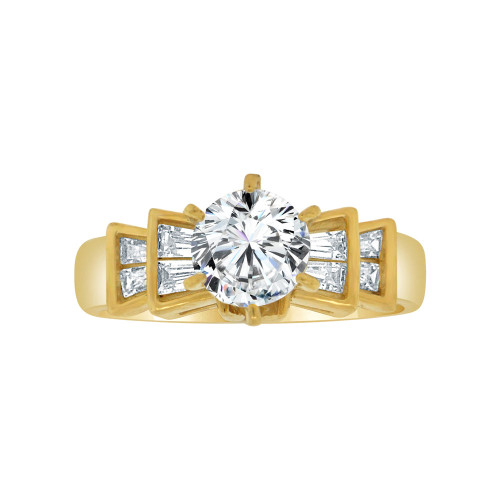 14k Yellow Gold, Elegant Lady's Bridal Wedding Ring Round Cubic Zirconia 1.0ct (R117-015)