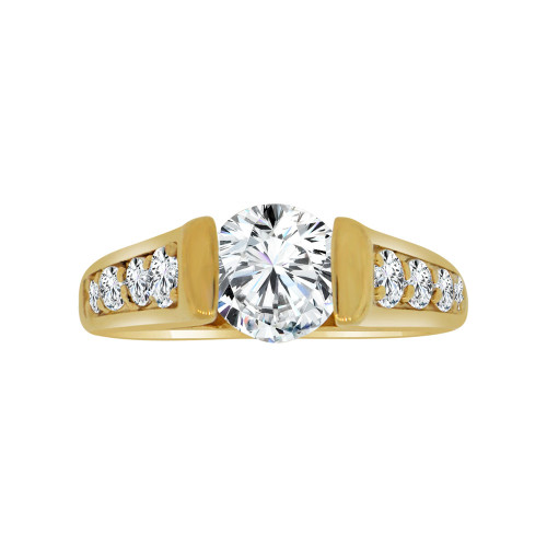 14k Yellow Gold, Elegant Lady's Bridal Wedding Ring Round Cubic Zirconia 1.25ct (R117-016)
